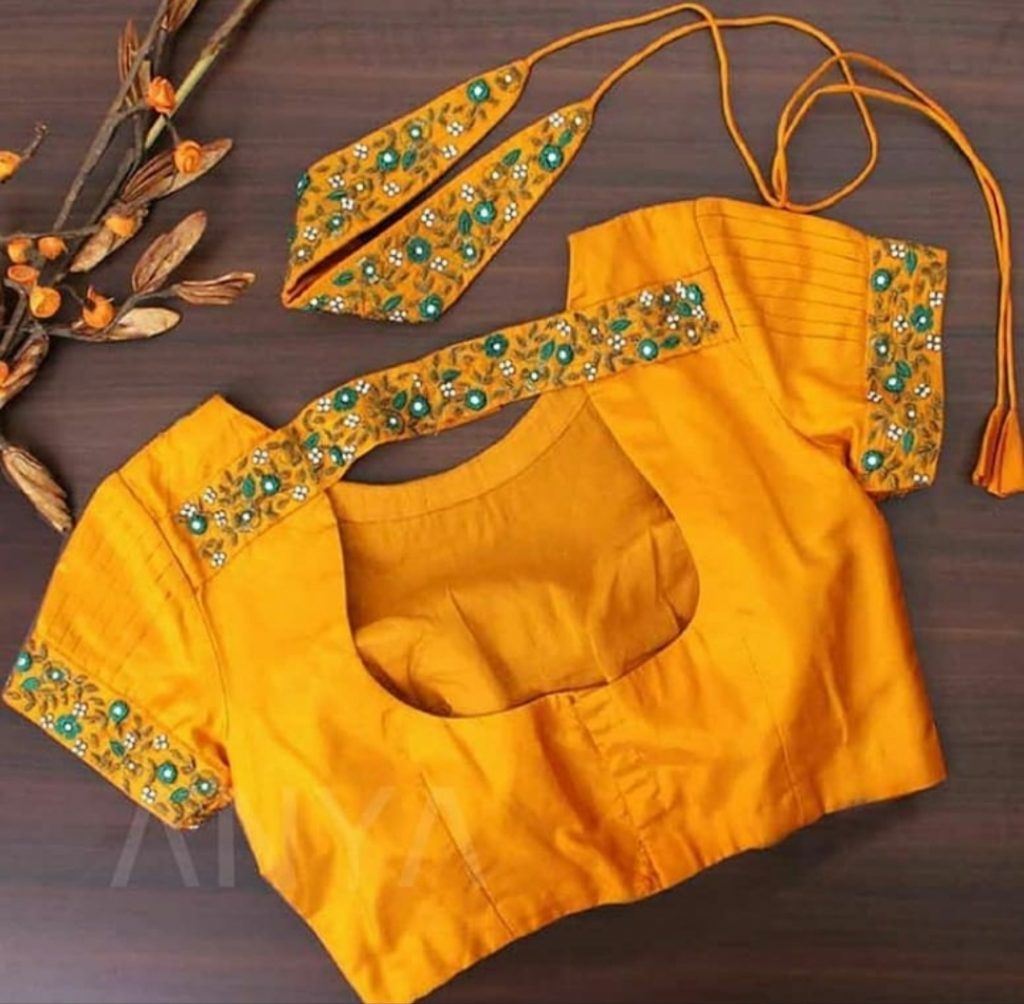 simple silk saree blouse designs catalogue