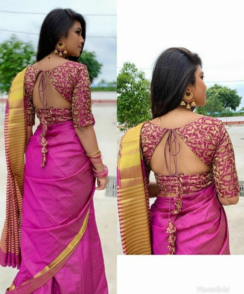 blouse back neck designs with borders
