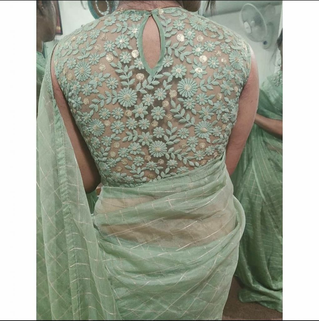 latest saree blouse back neck designs